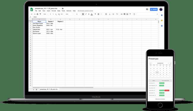 Controlo de Presenças Exporta Excel